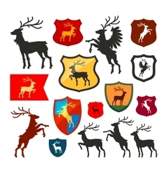 Shield with deer reindeer stag logo coat vector