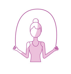 Silhouette woman jumping to do exercise vector