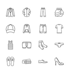 sixteen modern clothes icons vector image vector image