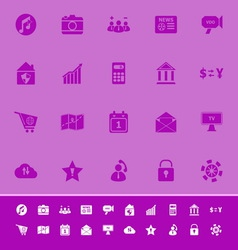 Smart phone color icons on purple background vector image