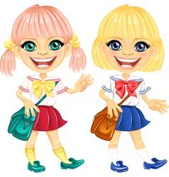 Smiling blonde cute schoolgirls vector image vector image