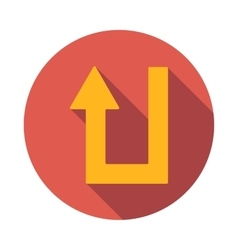 U turn icon flat style vector image vector image