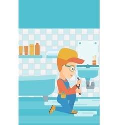 Woman repairing sink vector image