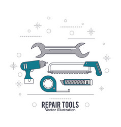 Wrench drill saw meter tool icon repair concept vector