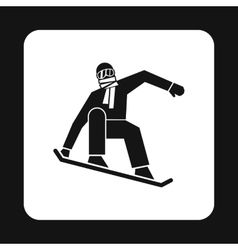 Snowboarder icon simple style vector