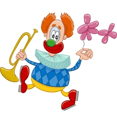 Clown with trumpet cartoon vector
