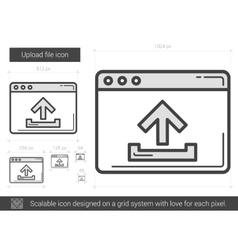 Upload file line icon vector