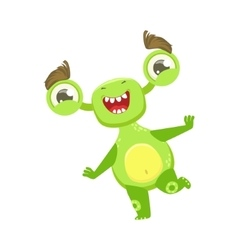 Funny monster dancing and smiling green alien vector