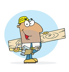 Hispanic worker man a wood plank vector