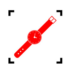 Watch sign   red icon inside vector