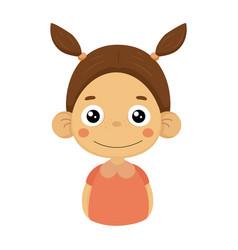 Content smiling little girl flat cartoon portrait vector