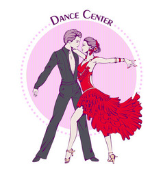 Dance line color ballroom dancing latina vector