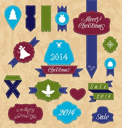 Christmas set variation labels and ribbons vector image