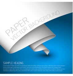 blue simple background with white paper vector image