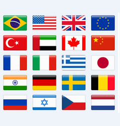 Set of popular country flags glossy rectangle vector
