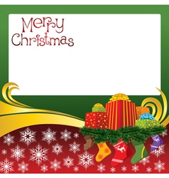2012 christmas card with gifts and socks vector image