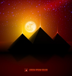 Red and orange night desert landscape vector