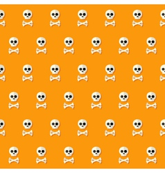 Seamless halloween skull pattern with bones vector