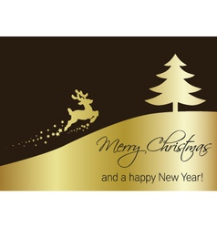 Golden Christmas Tree with Reindeer vector image