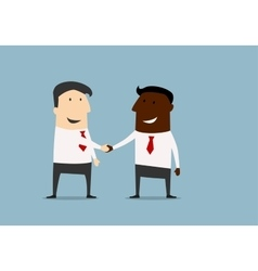 Black and caucasian businessmen handshake vector