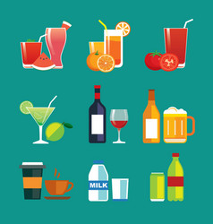 Drinks and beverages flat design icon set vector