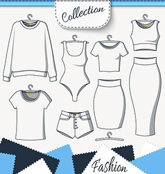 Set of clothes to create design on white vector