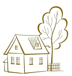 house with a tree pictogram vector image