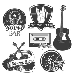 Set of sound recording studio labels in vector