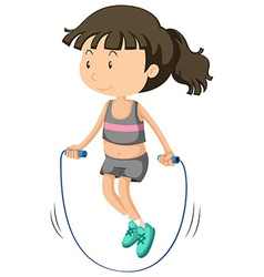 Girl jumping rope alone vector