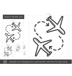 airport transfer line icon vector image vector image