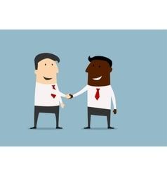 Black and caucasian businessmen handshake vector image vector image