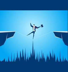 Businessman walking tightrope across the gap vector