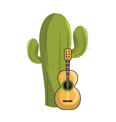 Cactus with thorns and acoustic guitar vector
