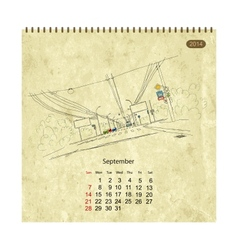 Calendar 2014 september Streets of the city sketch vector image
