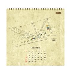 Calendar 2014 september streets of the city sketch vector