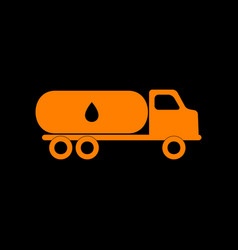 Car transports oil sign orange icon on black vector