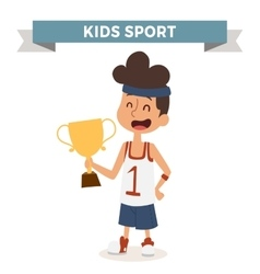 Cute cartoon profession basketball kid with vector