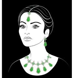 East woman with jewelry vector