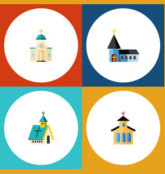 Flat icon christian set of christian religious vector