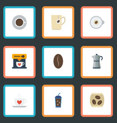 Flat icons moka pot cappuccino arabica bean and vector