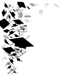 graduate caps and diploma vector image