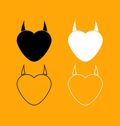 heart with devil horn set black and white icon vector image vector image