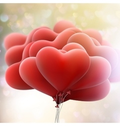 Hearts balloons on bokeh background eps 10 vector