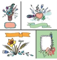 Holiday doodle floral cardvintage hand sketched vector
