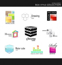 icons box style collection vector image vector image