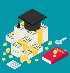 isometric invest in education concept in flat vector image