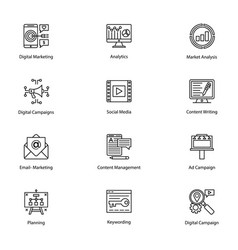 line icons of internet and digital marketing vector image