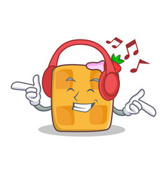 Listening music waffle character cartoon design vector