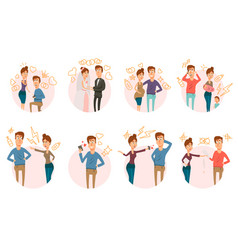 marriage divorce icons collection vector image vector image