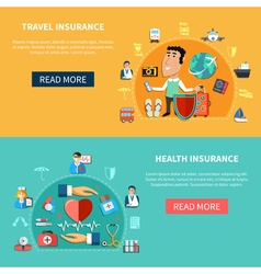 Medical And Journey Insurance Horizontal Banners vector image